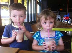 kids having milkshakes