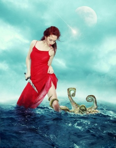 Girl with octopus